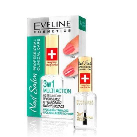 Eveline - Nail Salon Professional - 3w1 MULTI ACTION wysuszacz, utwardzacz i nabłyszczacz, 12 ml.