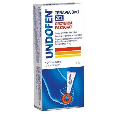 Undofen ŻEL, grzybica paznokci, Terapia 3w1, 7 ml.