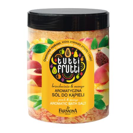 Tutti Frutti - SÓL do kąpieli z płatkami kwiatków Mango&Brzoskwinia, 600 g.