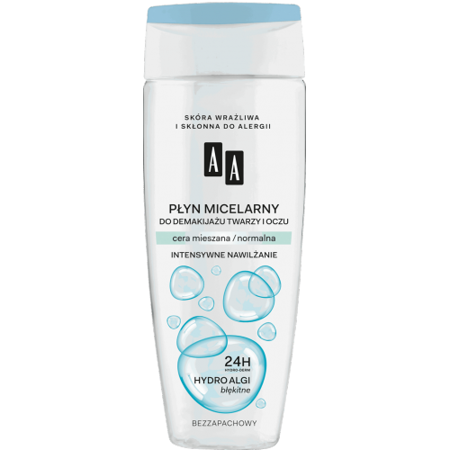 AA - Hydro Algi Błękitne - PŁYN micelarny do demakijażu twarzy i oczu, cera mieszana i normalna, 200 ml.