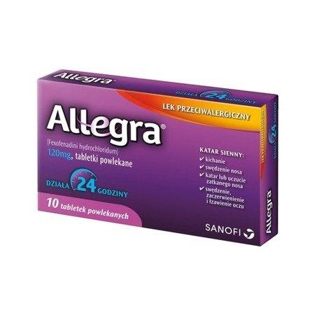 ALLEGRA 120 mg. - TABLETKI łagodzące objawy alergii 10 tabletek.