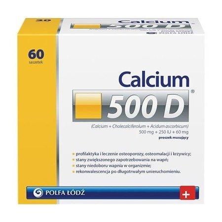 Calcium 500D - Wapno, witamina D3 i witamina C, 60 saszetek.