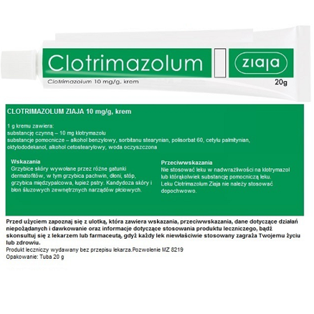 Clotrimazolum 10 mg. Ziaja, 20 g.