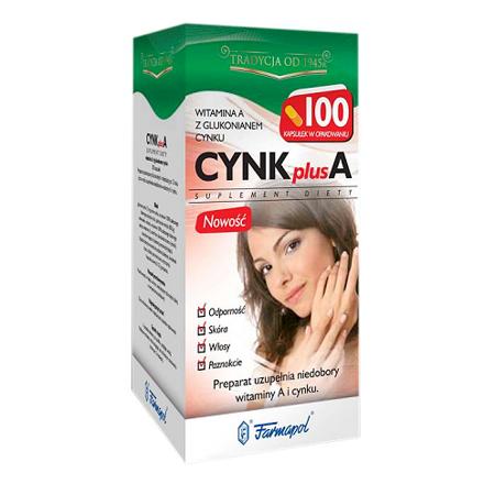 Cynk plus A, 100 kapsułek.
