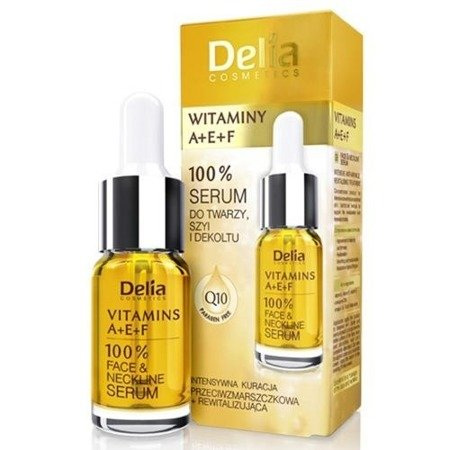 Delia - SERUM do twarzy, szyi i dekoltu z witaminami A, E, F, 10 ml.