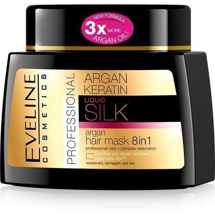 Eveline - Argan Keratin - Profesjonalna MASKA arganowa 8w1 do włosów osłabionych i zniszczonych, 500 ml.