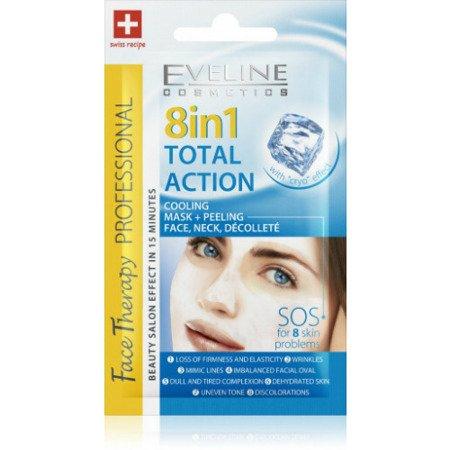 Eveline Face Therapy Professional - MASECZKA+PEELING chłodząca do twarzy, szyi i dekoltu SOS 8w1, 7 ml.