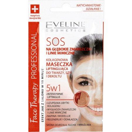 Eveline - Face Therapy Professional - MASECZKA liftingująca, kolagenowa do twarzy, szyi i dekoltu SOS 5w1, 7 ml.