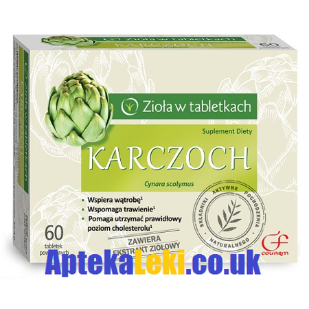 Karczoch - Wspiera pracę układu pokarmowego, wątrobę oraz przyczynia się do utrzymania odpowiedniego poziomu cholesterolu, 30 kapsułek.(Colfarm)