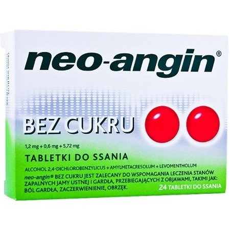 Neo-Angin BEZ CUKRU, 24 pastylki do ssania.