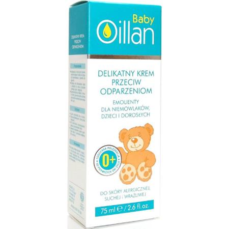 Oillan Baby - Delikatny krem przeciw odparzeniom od pierwszych dni życia, 75 ml.