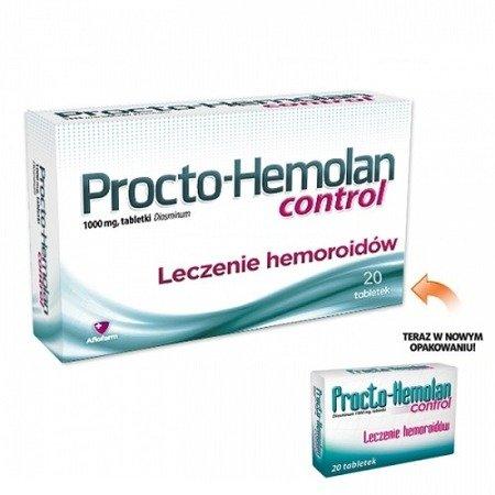 Procto-Hemolan Control - Pomaga w dolegliwościach z hemoroidami, 20 tabletek.