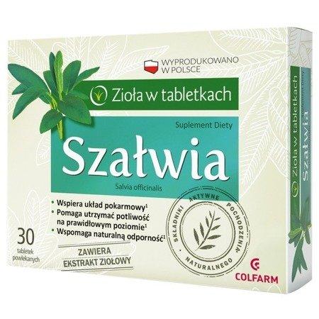 Szałwia - Wyciąg z szałwii, kontroluje wydzielanie potu, 30 tabletek. (Colfarm)
