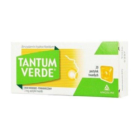 Tantum Verde o smaku Miodowo - Pomarańczowym, 20 pastylek do ssania.