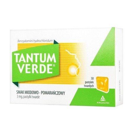 Tantum Verde o smaku Miodowo - Pomarańczowym, 30 pastylek do ssania.