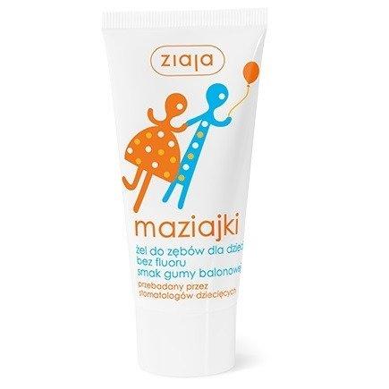 Ziaja - Maziajki - ŻEL do zębów nie zawierający fluoru o smaku Gumy balonowej, 50 ml.